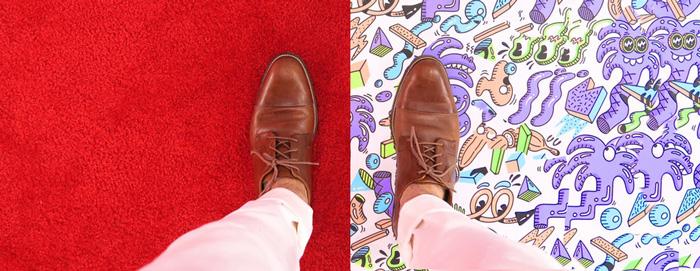 efecto optico mismos zapatos en distintos fondos
